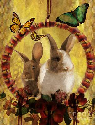 Digital Art - Bunnies And Butterflies by Maria Urso