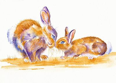 Bunnies Original by Debra Hall