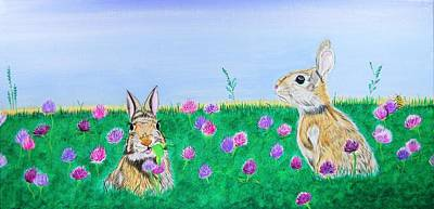 Painting - Bunnies In Clover by Sonja Jones
