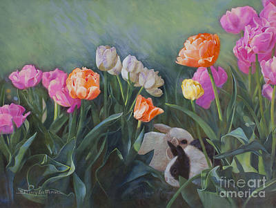 Bunnies In The Blooms Original by Nancy Lee Moran