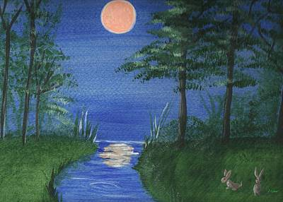 Painting - Bunnies In The Garden At Midnight by Denise F Fulmer