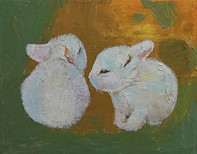 White Rabbit Painting - Baby Rabbits by Michael Creese