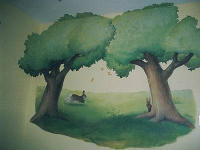 Painting - Bunnies Running Under Trees by Suzn Art Memorial