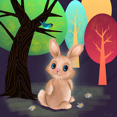 Bunny And Birdie Art Print by Little Bunny Sunshine