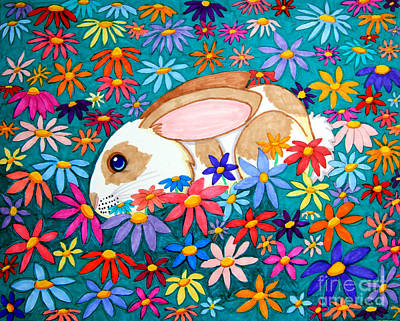 Animals Drawings - Bunny and flowers by Nick Gustafson