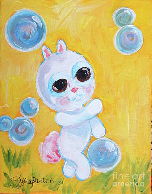 Mixed Media - Bunny And The Bubbles Painting For Children by Shelley Overton