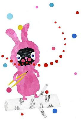 Fun Mixed Media - Bunny by Anne Vasko