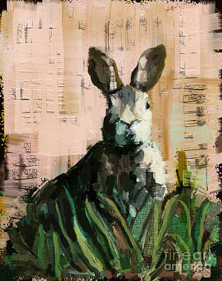 Mixed Media - Bunny by Carrie Joy Byrnes