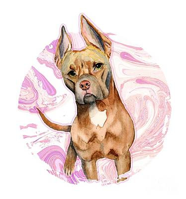 Watercolor Pet Portraits Mixed Media - Bunny Ears 3 by NamiBear
