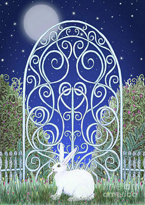 Mixed Media - Bunny, Gate And Moon by Lise Winne