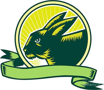Bunny Head Circle Ribbon Woodcut Art Print by Aloysius Patrimonio