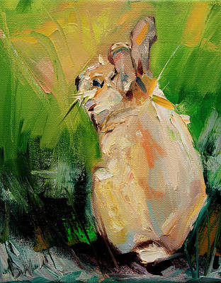 Painting - Bunny Hiding by Diane Whitehead