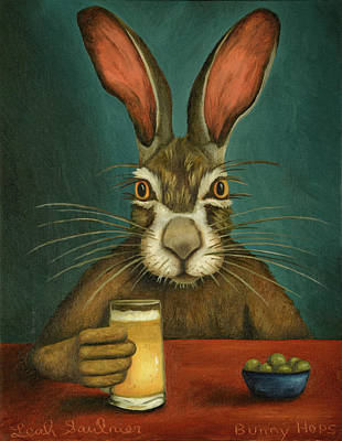 Art Print featuring the painting Bunny Hops by Leah Saulnier The Painting Maniac