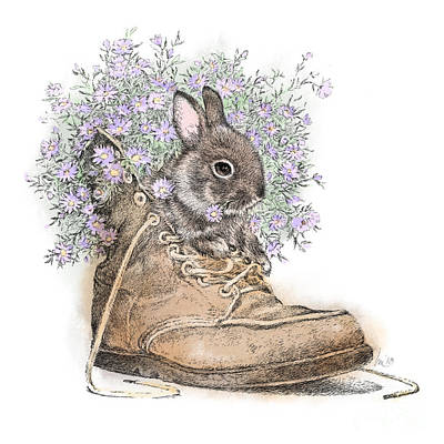 Wall Art - Drawing - Bunny In Boot by Laurie Musser