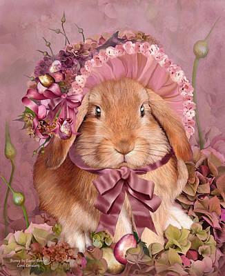 Bunny In Easter Bonnet Art Print by Carol Cavalaris