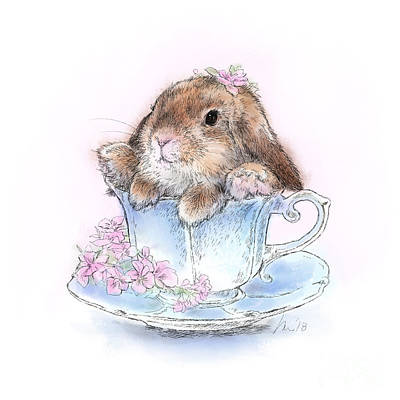 Wall Art - Drawing - Bunny In Teacup by Laurie Musser