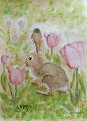 Painting - Bunny In The Tulips by Laurie Morgan