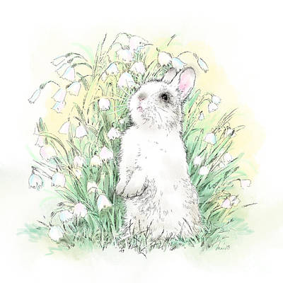 Wall Art - Drawing - Bunny In White by Laurie Musser