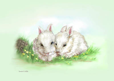 Digital Art - Bunny Love In Color by Bonnie Willis