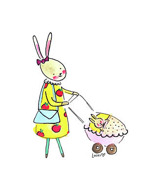 Baby Shower Painting - Bunny Mom by Ashley Lucas