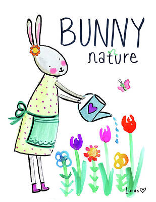 Bunnies Painting - Bunny Nature by Ashley Lucas