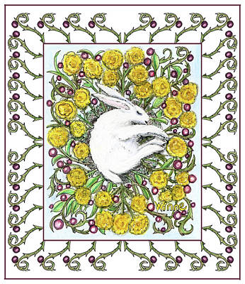 Mixed Media - Bunny Nest Of Yellow Roses And Blueberries by Lise Winne