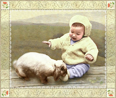 Photograph - Bunny Nuzzles Baby's Toes by Adele Aron Greenspun