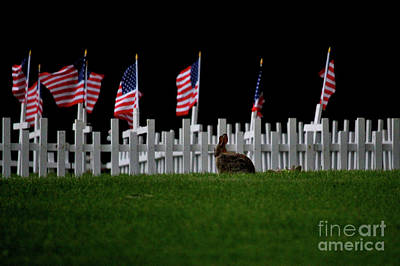 Bunny Paying Respect Art Print by Laura Birr Brown