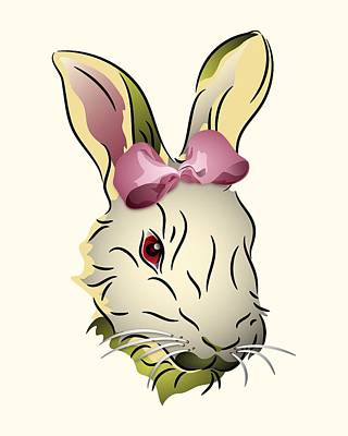 Digital Art - Bunny Rabbit With A Pink Bow by MM Anderson