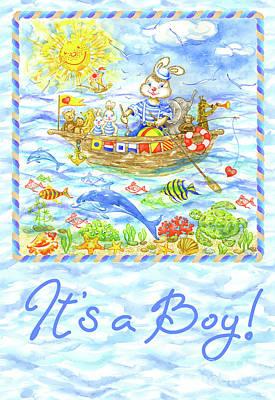 Wall Art - Painting - Greeting Card Bunny Sailor With Friends by Svetlana Titarenko