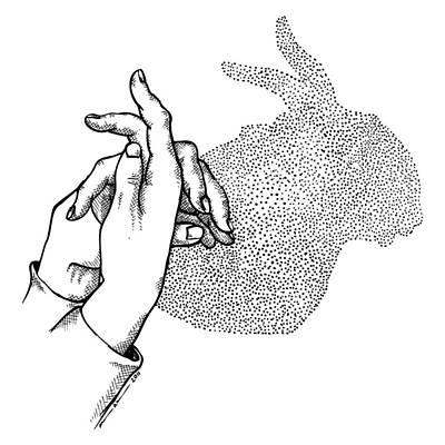 Bunny Shadow Hands Art Print