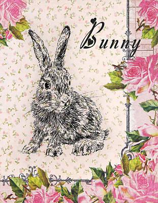 Mixed Media - Bunny With Roses by Masha Batkova