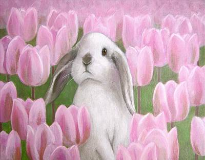 Bunny With Tulips Art Print