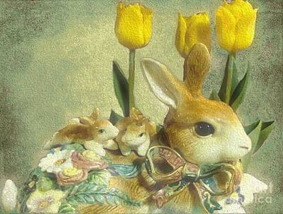 Photograph - Bunny With Yellow Tulips by Janette Boyd