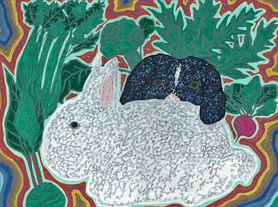 Bunnys And Vegetables Original by Peter Adam