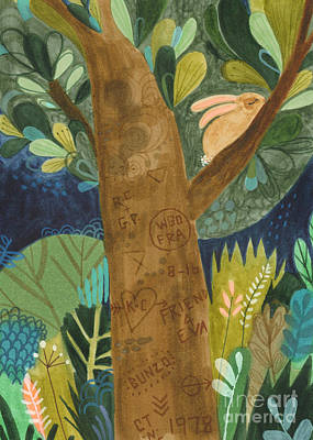 Edgy Art Painting - Bunzo And The Tattoo Tree by Kate Cosgrove