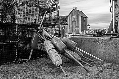 Photograph - Buoys And Lobster Traps Motif #1 Rockport Ma Black And White by Toby McGuire