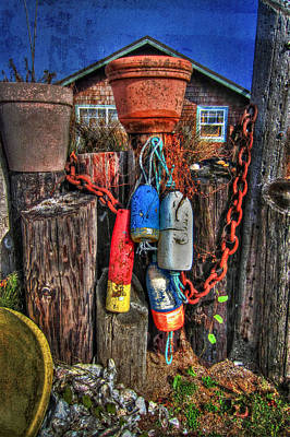 Photograph - Buoys Chains And Flower Pots by Thom Zehrfeld