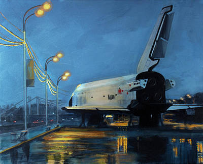 Space Ships Painting - Buran by Simon Kregar