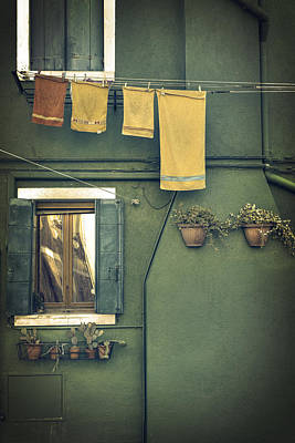 Vintage Laundry Photograph - Burano - Green House by Joana Kruse