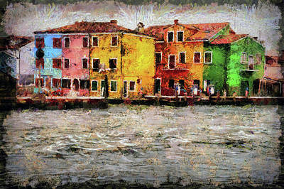 Narrow Boats Digital Art - Burano, An Island In The Venetian Lagoon by Akos Horvath