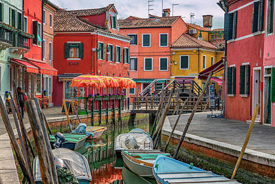 Photograph - Burano Canal And Orange Umbrellas_dsc5077_03032017 by Greg Kluempers