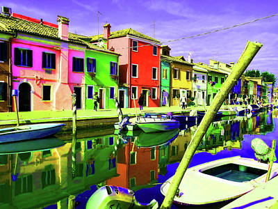 Photograph - Burano Canal Houses Bright 1 by Helaine Cummins