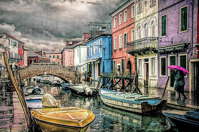Photograph - Burano In The Rain by Brian Tarr