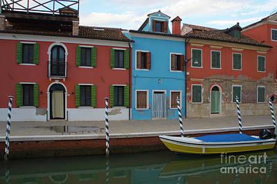 Photograph - Burano Italy Boat Reflection by Loriannah Hespe