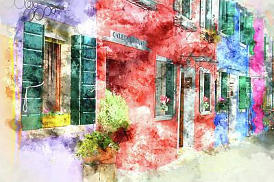 Burano Italy Buildings - Digital Art Watercolor Art Print