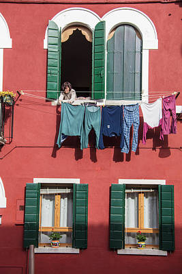 Photograph - Burano Italy House Clothesline by John McGraw