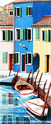 Open Window Painting - Burano, Reflections Along The Canal by Mary Grden's Baywood Gallery