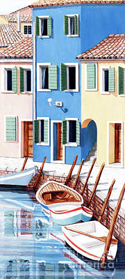 Wooden Painting - Burano, Italy Prints From My Oil Paintings by Mary Grden Fine Art Oil Painter Baywood Gallery