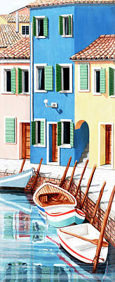 Brick Buildings Painting - Burano, Italy, Prints From Original Oil Painting by Mary Grden Fine Art Oil Painter Baywood Gallery